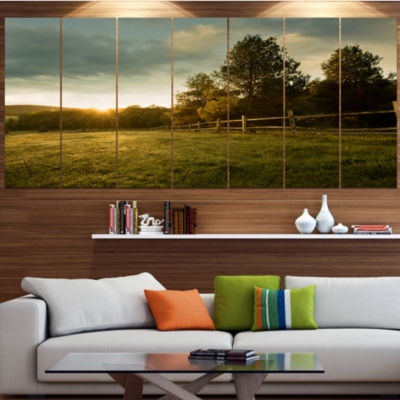 Designart Beautiful Sunrise In The Farm LandscapeCanvas Art Print - 5 Panels