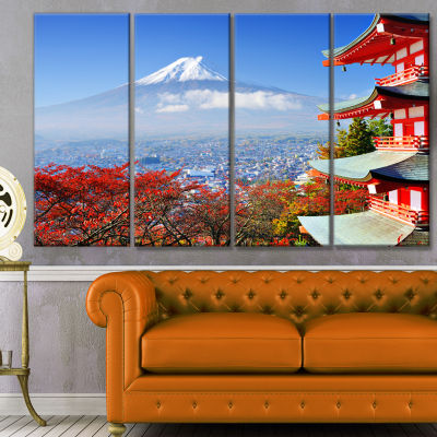 Mount Fuji With Fall Colors Landscape Canvas Art Print - 4 Panels