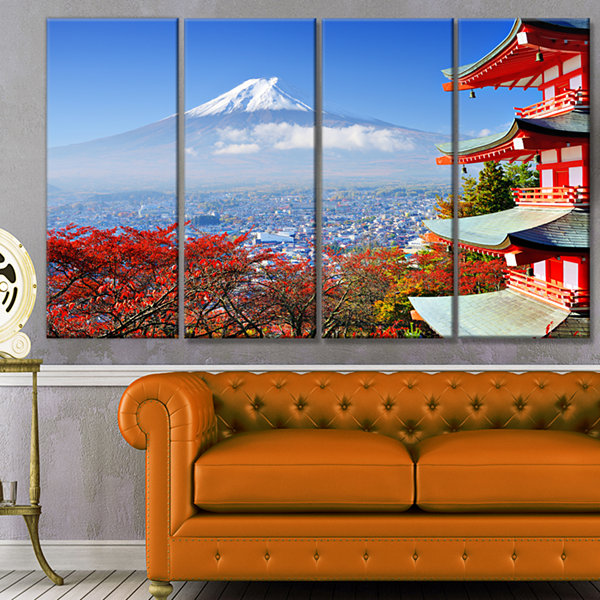 Design Art Mount Fuji With Fall Colors Landscape Canvas Art Print - 4 Panels