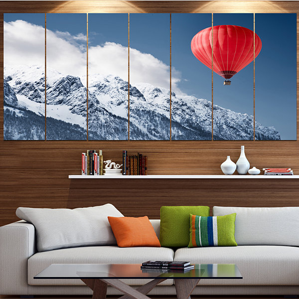 Designart Balloon Over Winter Hills Landscape Canvas Art Print - 5 Panels