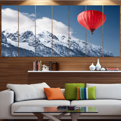 Balloon Over Winter Hills Landscape Canvas Art Print - 6 Panels