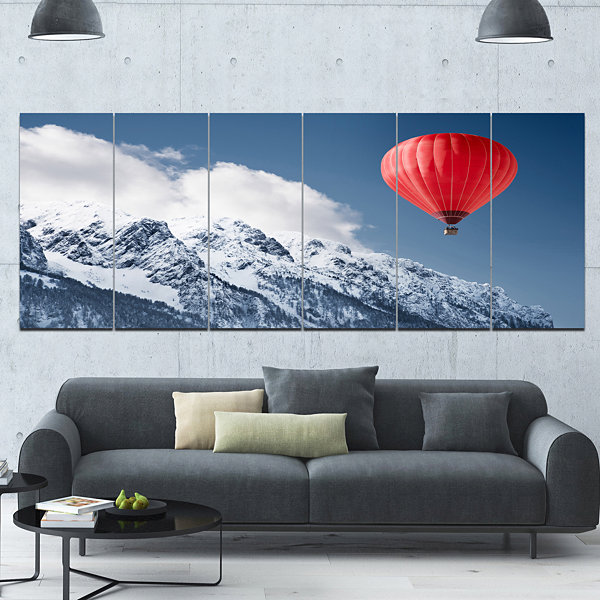Designart Balloon Over Winter Hills Landscape Canvas Art Print - 6 Panels