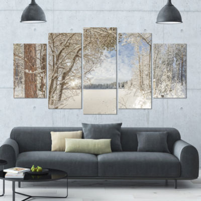 Lake In Winter Woods Landscape Large Canvas Art Print - 5 Panels