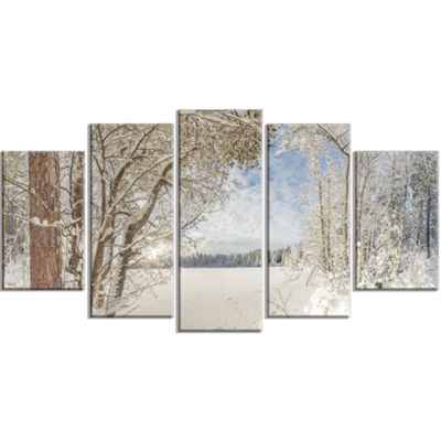 Designart Lake In Winter Woods Landscape Large Canvas Art Print - 5 Panels