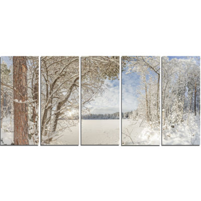 Designart Lake In Winter Woods Landscape Canvas Art Print -5 Panels