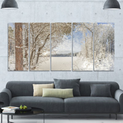 Lake In Winter Woods Landscape Canvas Art Print -5 Panels
