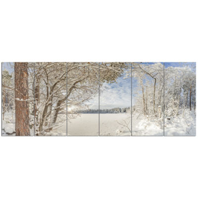 Designart Lake In Winter Woods Landscape Canvas Art Print -6 Panels