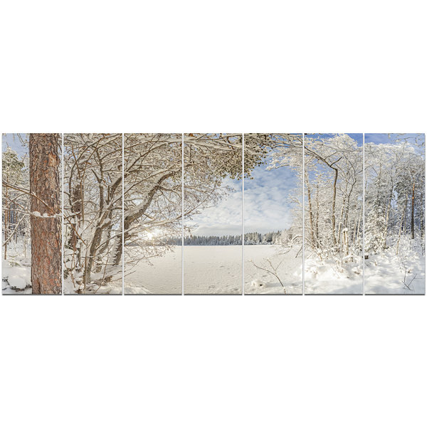 Designart Lake In Winter Woods Landscape Canvas Art Print -7 Panels