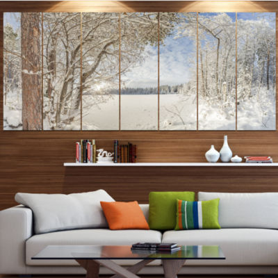 Lake In Winter Woods Landscape Canvas Art Print -7 Panels
