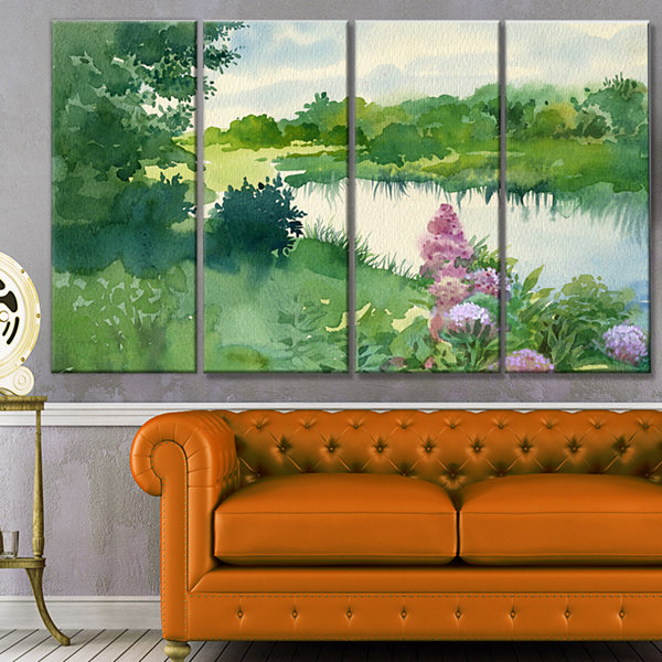 Designart Green Riverside Land Watercolor Landscape Canvas Art Print - 4 Panels