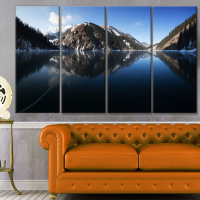 Frozen Mountain Lake Pano Landscape Canvas Art Print - 4 Panels