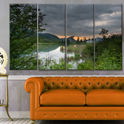 Designart Stormy Weather Over Swamp Landscape Canvas Art Print - 4 Panels