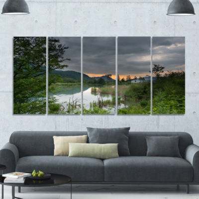 Stormy Weather Over Swamp Landscape Canvas Art Print - 5 Panels