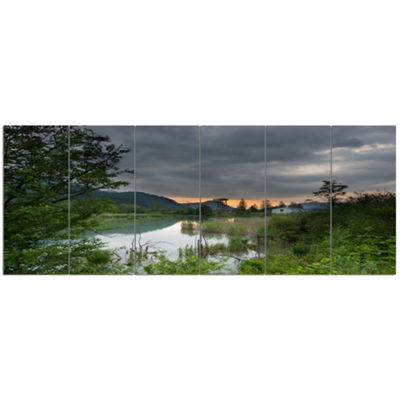 Designart Stormy Weather Over Swamp Landscape Canvas Art Print - 6 Panels