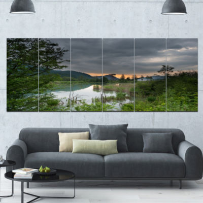 Stormy Weather Over Swamp Landscape Canvas Art Print - 6 Panels