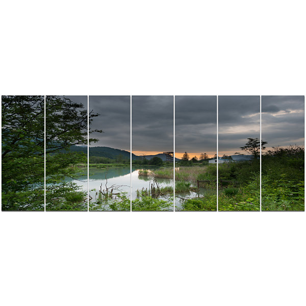 Designart Stormy Weather Over Swamp Landscape Canvas Art Print - 7 Panels