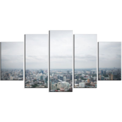 Designart Panoramic Aerial View Of Big City Landscape LargeCanvas Art Print - 5 Panels