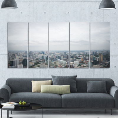 Designart Panoramic Aerial View Of Big City Landscape Canvas Art Print - 5 Panels