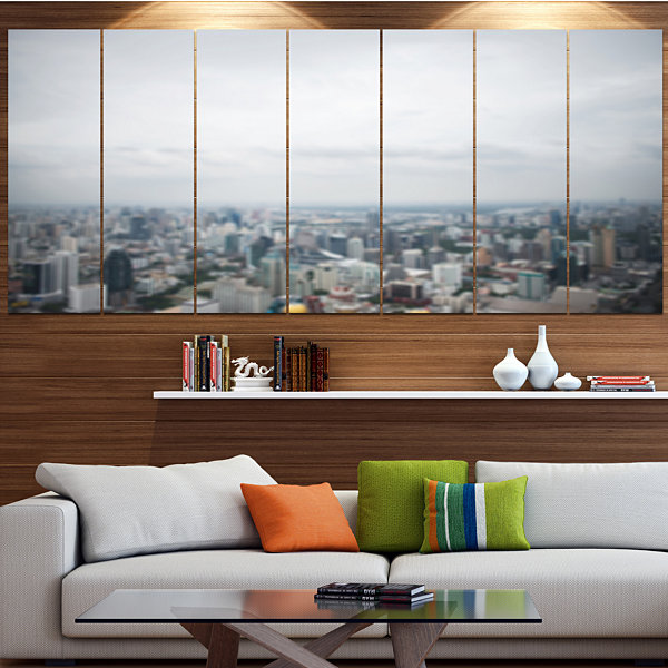 Designart Panoramic Aerial View Of Big City Landscape Canvas Art Print - 7 Panels
