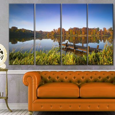 Still Waters Of Fall Lake Landscape Canvas Art Print - 4 Panels