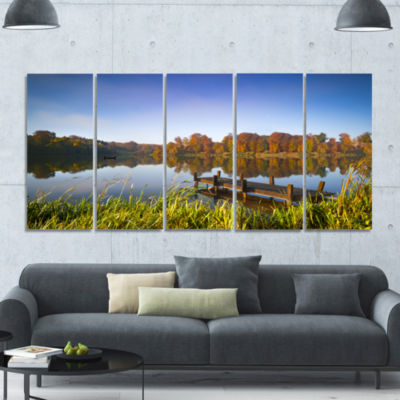 Still Waters Of Fall Lake Landscape Canvas Art Print - 5 Panels