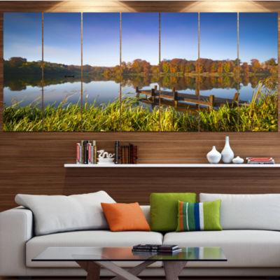 Designart Still Waters Of Fall Lake Landscape Canvas Art Print - 7 Panels