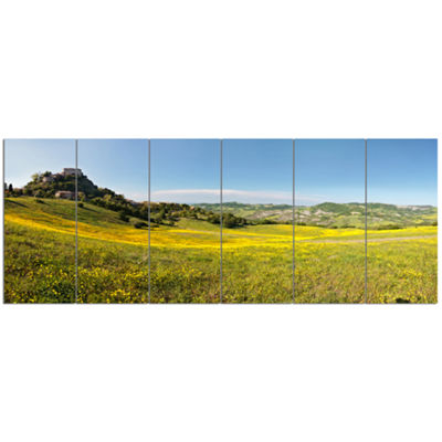 Designart Italian Castle Of Rossena Landscape Canvas Art Print - 6 Panels