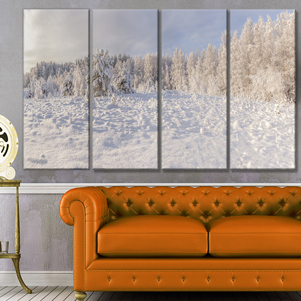 Designart Wood Winter Glade Landscape Canvas ArtPrint - 4 Panels