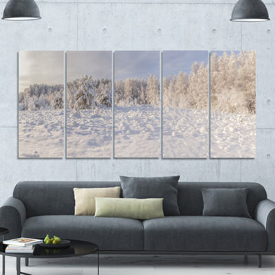 Designart Wood Winter Glade Landscape Canvas ArtPrint - 5 Panels