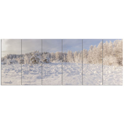 Wood Winter Glade Landscape Canvas Art Print - 6 Panels