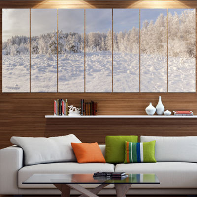 Designart Wood Winter Glade Landscape Canvas ArtPrint - 7 Panels