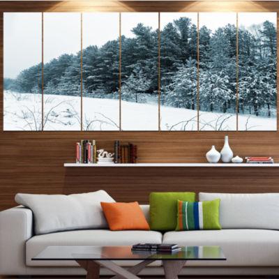 Designart Dark Winter Trees Landscape Large CanvasArt Print- 5 Panels