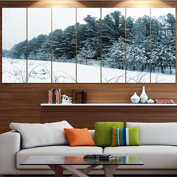 Designart Dark Winter Trees Landscape Canvas ArtPrint - 6 Panels