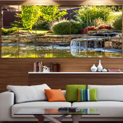 Designart Green Lake And Plants Landscape CanvasArt Print -4 Panels