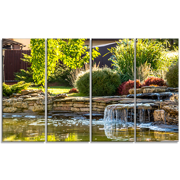 Designart Green Lake And Plants Landscape CanvasArt Print -4 Panels