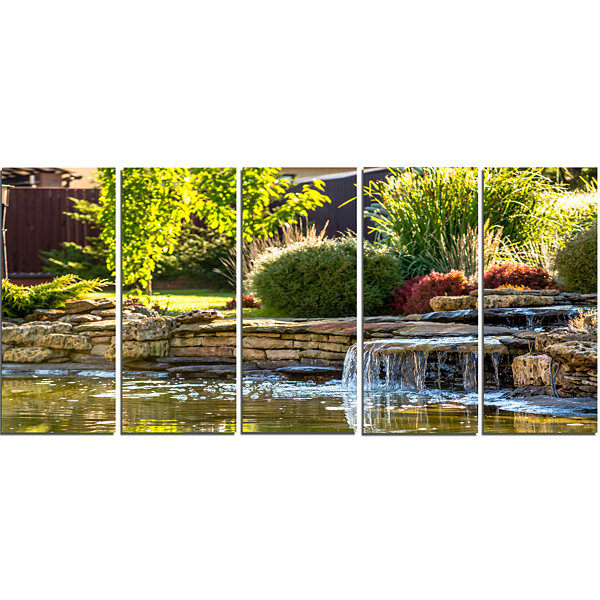 Design Art Green Lake And Plants Landscape CanvasArt Print -5 Panels