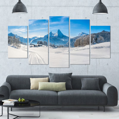Designart Winter In Bavarian Alps Panorama Landscape Large Canvas Art Print - 5 Panels