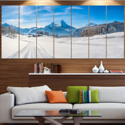Designart Winter In Bavarian Alps Panorama Landscape Canvas Art Print - 7 Panels