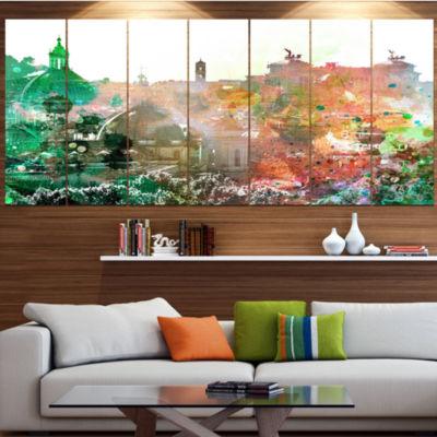 Designart Colorful City Watercolor Landscape LargeCanvas Art Print - 5 Panels