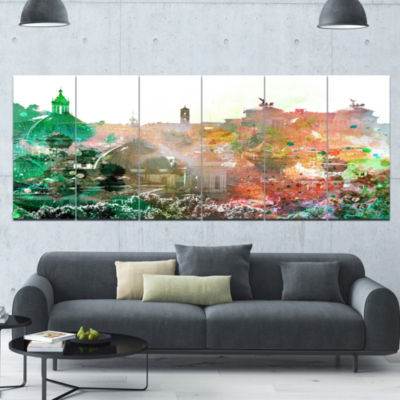 Colorful City Watercolor Landscape Canvas Art Print - 6 Panels
