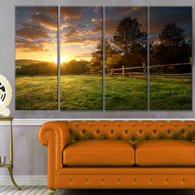 Designart Fenced Ranch At Sunrise Landscape CanvasArt Print- 4 Panels