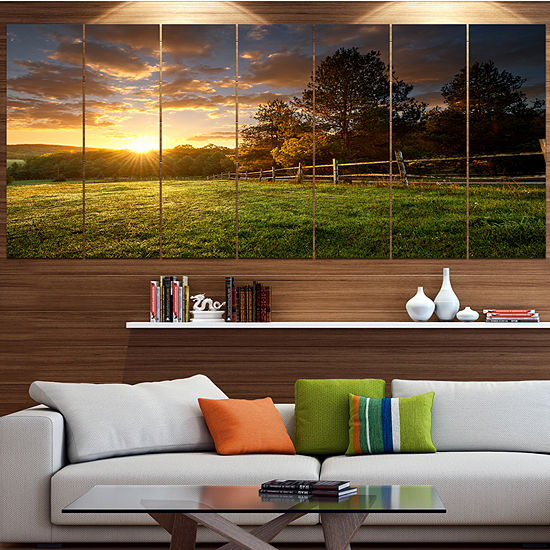 Designart Fenced Ranch At Sunrise Landscape CanvasArt Print- 5 Panels