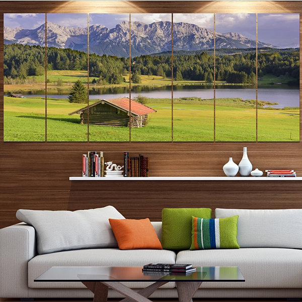 Designart Bavaria With Mountains And Lake Landscape Canvas Art Print - 4 Panels