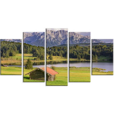 Designart Bavaria With Mountains And Lake Landscape Large Canvas Art Print - 5 Panels