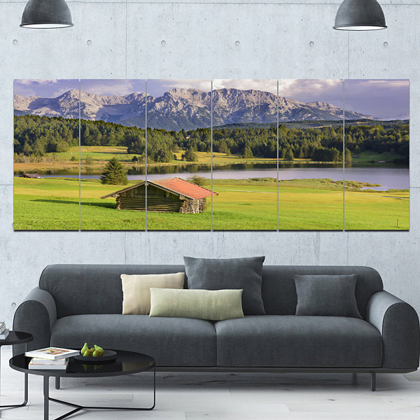 Design Art Bavaria With Mountains And Lake Landscape Canvas Art Print - 6 Panels
