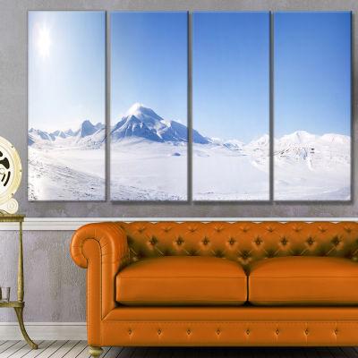 Designart Vacant Winter Land Panorama Landscape Canvas Art Print - 4 Panels