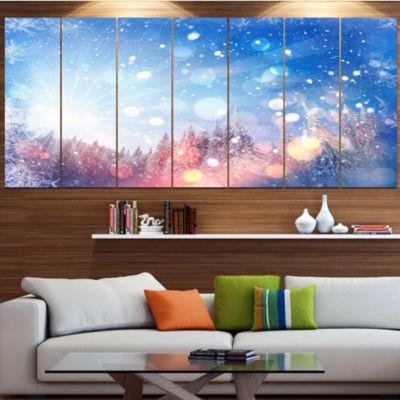 Designart Winter Trees Snowbound Landscape CanvasArt Print- 4 Panels