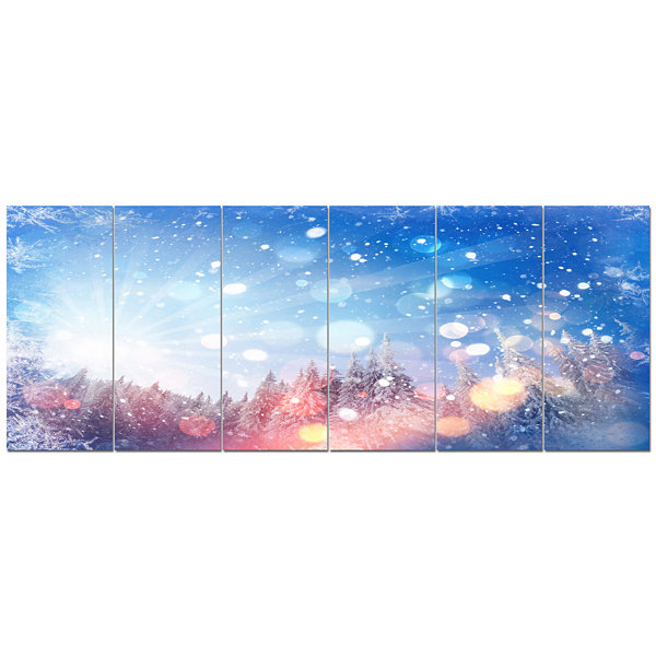 Designart Winter Trees Snowbound Landscape CanvasArt Print- 6 Panels