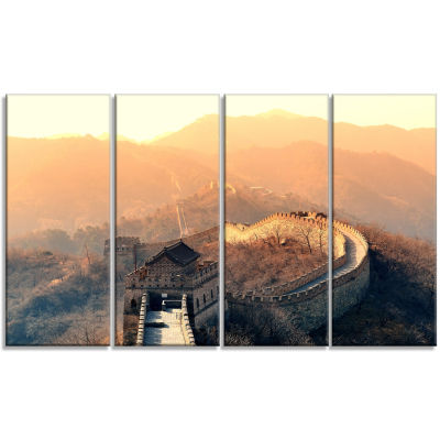 China Great Wall Morning Landscape Canvas Art Print - 4 Panels