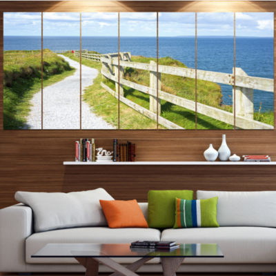 Designart Cliff Walk On Wild Atlantic Way Landscape Canvas Art Print - 4 Panels